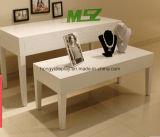 Weißer flüssiger Farbanstrich-Bildschirmanzeige-Tisch mit dem Metallbein, hölzerner Schreibtisch
