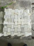 Плитки МНОГОТОЧИЯ мозаики W/Black Calacatta золотистые Basketweave мраморный для стены