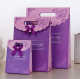 Bolsa de papel de arte del portador de las compras del papel de la impresión de Kraft para la batería cosmética del embalaje de la actual Navidad de los regalos de la joyería del vino que viaja (E037)