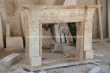Camino beige Sy-308 del marmo del travertino intagliato mano antica