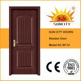 Porte en bois de peinture de placage affleurant de conception, porte en bois intérieure Sc-W110