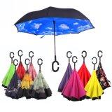 겹켜 거꾸로 한 우산 각자 대 뒤집혀진 비 보호 우산을 접히는 C 훅 손 방풍 리버스