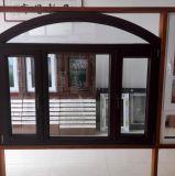 Окно свода деревянного зерна алюминиевое с двойным стеклом