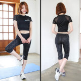 Sport sexy/maglietta ginnastica/di yoga della maglia dello Spandex del poliestere 10% delle donne 90%