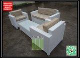 Sofá tecido de Resin Wicker Loveseat para o jardim Living de Outdoor com Pó-Coated Aluminum Bone Frame