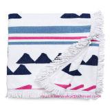 Хлопка квадратное напечатанное полотенце 100% пляжа с Tassels