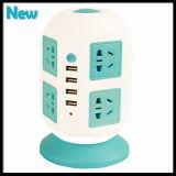 Universal Vertical Power Strip 8 saídas com disjuntor Home Office Over Current Protector Voltage Power Socket Múltiplo soquete com 4 USB
