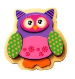 Brinquedo de madeira do enigma da coruja para miúdos e crianças