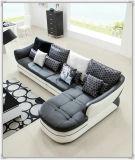Schwarzes Farben-Sofa, modernes ledernes Sofa, Hauptmöbel-Sofa (M303)