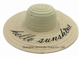 Paper Straw Hat with Wide Brim Wtih Printed Logo (Sh051)