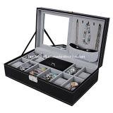 Caixa de couro preta do armazenamento do organizador do relógio da caixa de jóia 8 com fechamento & espelho