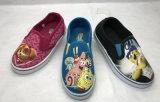 Zapatos de lona de la muchacha Loverly con la planta del pie del PVC del caucho (20160927080)