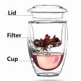 Personnaliser la cuvette de thé rouge de vert de cuvette de thé de cuvette en verre en verre de thé avec le filtre