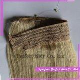 Weave por atacado barato do cabelo humano do halo da aleta de Remy do Virgin da qualidade superior