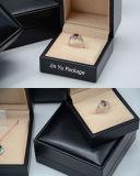 Modificar el rectángulo de empaquetado del papel de cuero de la joyería para requisitos particulares negra reutilizable del regalo