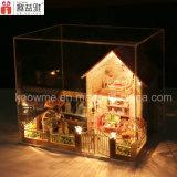 Miniatura de juguete de madera DIY construcción de viviendas modelo para regalo de cumpleaños
