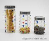 choc en verre de mémoire de la nourriture 300-1000ml avec le couvercle peint à la main et en métal