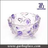 Perla coloreada grande que talla el tazón de fuente de ensalada de cristal