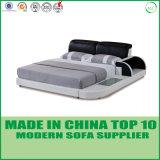 Кровать мебели спальни реальная кожаный