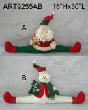 """12 """" Hx20 """" L Santa et bonhomme de neige Doorstopper avec des salutations, décoration d'Asst-Noël 3"""