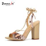 Zapatos de las sandalias de los altos talones de las mujeres de señora Casual Snake Pattern Lace-up