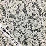 アイボリーの花柄の綿のナイロンレースファブリック