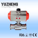 Válvula de esfera apertada sanitária pneumática do aço inoxidável