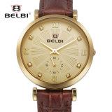 Horloge van de Vrouwen van het Leer van het Kwarts van het Ontwerp van de Diamant van Belbi het Toevallige