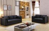 黒い革居間の家具のソファーセット