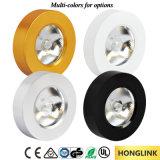 3W de aluminio redondo blanco cálido COB regulable LED luz del duende malicioso