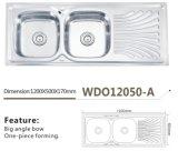 De Keuken van het roestvrij staal een wdo12050-Dubbele Kom van de Gootsteen met Afvoerkanaal