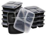 Contenitore di alimento di plastica di microonda dei 3 scompartimenti della preparazione sicura accatastabile del pasto