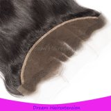 Популярный естественный черный прямой бразильский Frontal шнурка волос 13*4 девственницы