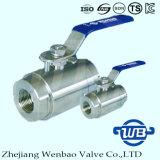 robinet à tournant sphérique à haute pression de flottement de la pièce forgéee 2PC avec le traitement manuel