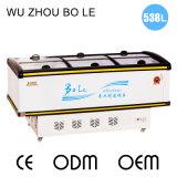 congelador do console da porta deslizante do indicador do Showcase 528L com luz do diodo emissor de luz