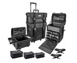 Beautiful Cosmetics 2 Compartimento Soft Black Rolling Trolley Makeup Case com Free 3 Piece Organizer Mesh Bags