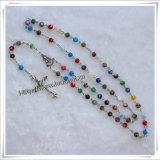 2015 rosari di plastica multicolori del branello/resina rossa bordano la collana Chain del rosario (IO-cr267)
