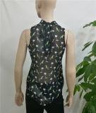 Maglia Sleeveless dell'ultimo di modo 2017 della camicetta di disegno della donna della stampa del tessuto della camicetta collare chiffon del basamento