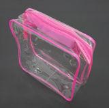 Belüftung-Kosmetik-dreidimensionaler Beutel-kundenspezifische rosafarbene Plastiktasche
