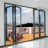 Дверь конструкции аккордеони самой лучшей рамки сразу цены фабрики качества дешевой алюминиевой стеклянная складывая для оптовой продажи