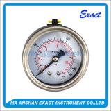 Abaisser en arrière l'indicateur de pression en acier Mesurer-Inoxidable rempli parPétrole d'enveloppe de pression de connexion