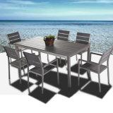 Garten-im Freienmöbel-einfaches Aluminiumhölzernes Stuhl-Tisch-Plastikset