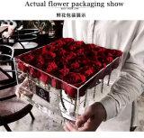 Rectángulo plástico de la flor Rose del rectángulo de acrílico claro del día de madre 25PCS Rose