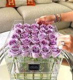 Коробка цветка ясной акриловой Rose коробки Дня матери 25PCS Rose пластичная