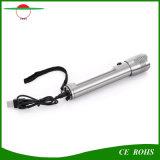 Angeschaltene Solartaschenlampe, Aluminiumlegierung-Handtaschenlampenachladbarer LED Torchlight mit USB-Ladung-Kabel für das Kampieren, wandernd und klettern, im Freiensport