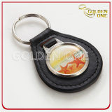 Forma redonda Metal&Leather Fob chave com logotipo feito sob encomenda