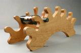 포도 수확 동물성 나무로 되는 포도주 선반 병 홀더 테이블 전시