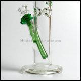 """17 """" fumage épais de Shisha Illadelph en verre vert de la hauteur 7mm de tube droit épais de conduite d'eau dans le barboteur impétueux de tabac soufflé par main courante de narguilé en gros"""