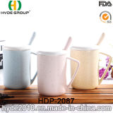 Tazza di caffè di ceramica di 2016 vendite calde con il coperchio ed il cucchiaio per il regalo di promozione (HDP-2087)