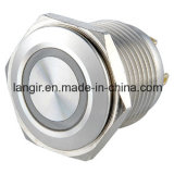 interruttore di pulsante momentaneo dell'acciaio inossidabile 12V di 16mm di illuminazione impermeabile dell'anello
